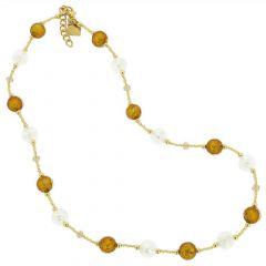 Beatrice Murano Glass Necklace - Topaz Gold