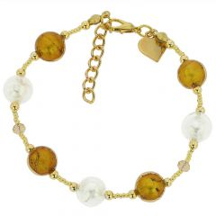 Beatrice Murano Glass Bracelet - Topaz Gold