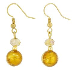 Beatrice Murano Glass Dangle Earrings - Golden Brown
