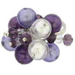 Sorgente Murano Glass Ring - Purple