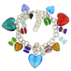 Donatella Murano Glass Hearts Charm Bracelet - Multicolor