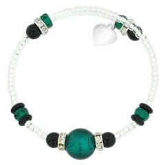 Carino Murano Glass Bracelet - Silver Aqua