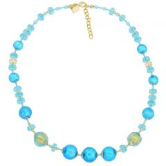 Murano Splash Of Gold Necklace - Sky Blue