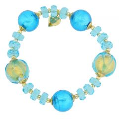 Murano Splash Of Gold Stretch Bracelet - Sky Blue