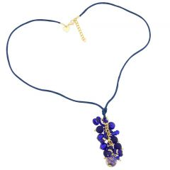 Stardust Murano Glass Charms Necklace - Blue