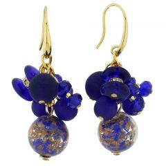 Stardust Murano Glass Charms Earrings - Blue