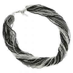 Dogaressa 48 Strand Necklace - Silver Grey and Black