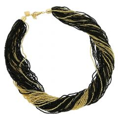 Dogaressa 48 Strand Necklace - Gold and Black