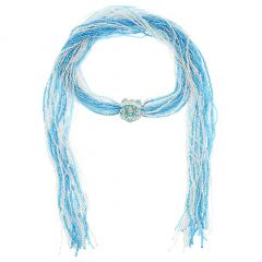 Unica Murano Glass Scarf Wrap Necklace - Silver Aqua