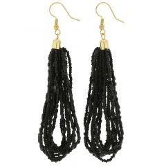 Gloriosa Seed Bead Murano Earrings - Black