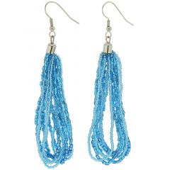 Gloriosa Seed Bead Murano Earrings - Aqua Blue