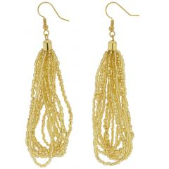 Gloriosa Seed Bead Murano Earrings - Gold