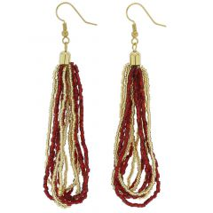Gloriosa Seed Bead Murano Earrings - Red and Gold