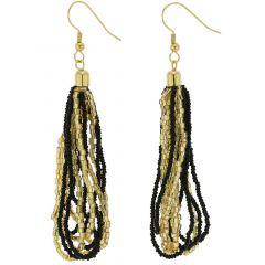 Gloriosa Seed Bead Murano Earrings - Black and Gold