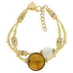 Adelina Murano Glass Bracelet - Topaz Gold