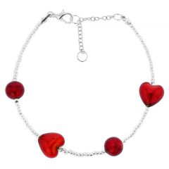 Passione Silver Red Hearts Murano Glass Bracelet