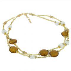 Adelina Murano Glass Necklace - Topaz Gold