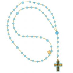 Murano Glass Italian Rosary - Light Blue