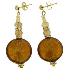 Beatrice Murano Glass Post Earrings - Golden Brown