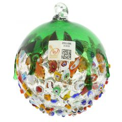Venetian Mosaic Murano Glass Christmas Ornament - Green
