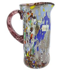 Murano Millefiori Art Glass Pitcher / Carafe - Silver Purple