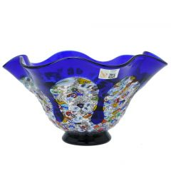 Murano Millefiori Art Glass Round Wavy Bowl - Blue