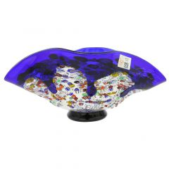 Murano Millefiori Art Glass Wavy Bowl - Blue