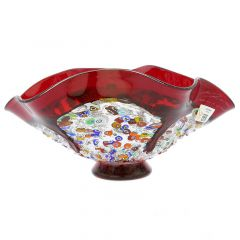 Murano Millefiori Art Glass Wavy Bowl - Red