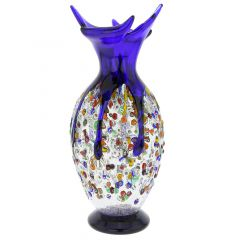 Murano Millefiori Art Glass Spiky Amphora Vase - Blue