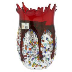 Murano Millefiori Art Glass Spiky Vase - Red