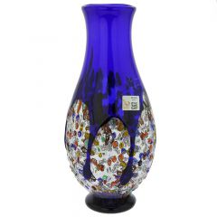 Murano Millefiori Art Glass Bottle Vase - Blue