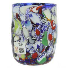 Murano Drinking Glass - Millefiori Silver Blue