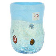 Murano Drinking Glass - Silver Aqua Mosaic