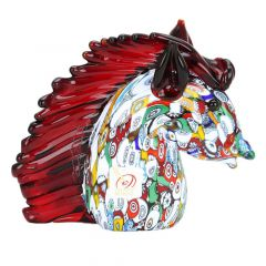 Murano Art Glass Millefiori Horse Head