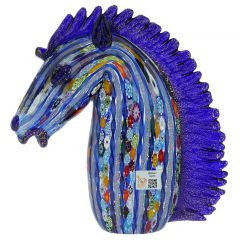 Murano Art Glass Large Millefiori Filigrana Horse Head
