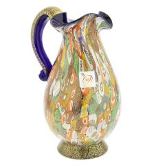 Murano Millefiori Gold Art Glass Pitcher / Carafe - Cobalt Blue