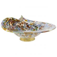 Murano Millefiori Gold Art Glass Centerpiece Bowl