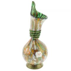 Murano Millefiori Gold Art Glass Calla Lily Vase - Green