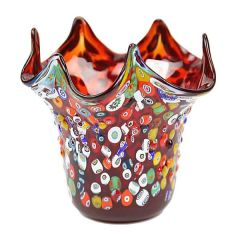 Murano Glass Millefiori Mosaic Fazzoletto Vase - Red