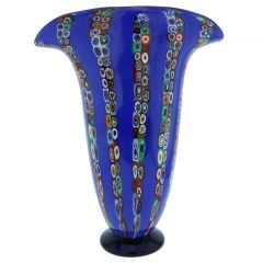 Ventaglio Blue Stripes Murano Glass Millefiori Vase - Large