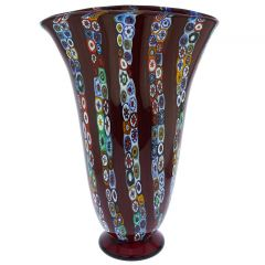 Ventaglio Red Stripes Murano Glass Millefiori Vase - Large