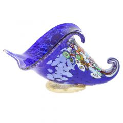 Murano Millefiori Art Glass Horn Of Plenty Sculpture - Blue