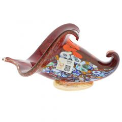 Murano Millefiori Art Glass Horn Of Plenty Sculpture - Red