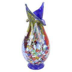 Murano Millefiori Art Glass Blooming Flower Vase - Cobalt Blue