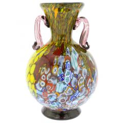 Murano Millefiori Art Glass Vase With Handles - Purple