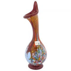 Murano Millefiori Art Glass Calla Lily Vase - Red