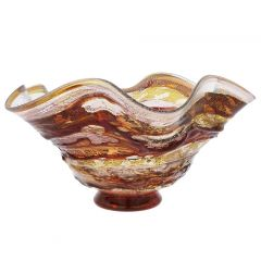 Murano Sbruffo Fazzoletto Bowl - Golden Brown