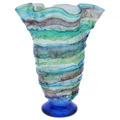 Murano Sbruffo Fazzoletto Vase - Green Aqua Purple