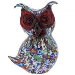 Murano Art Glass Millefiori Owl Sculpture