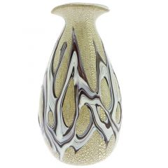 Murano Art Glass Silver Vase - Purple Web